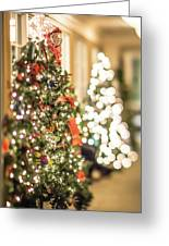 Christmas Tree And Decorations With Shallow Depth Of Field Greeting Card