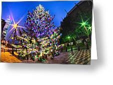 Christmas Tree Near Panther Stadium In Charlotte North Carolina Greeting Card