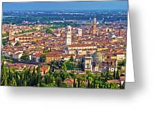 City Of Verona Old Center And Adige River Aerial Panoramic View Greeting Card