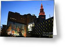 Terminal Tower And Sherwin Williams Building In Cleveland, Ohio, Usa Greeting Card