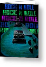 Colorful Music Rock N Roll Guitar Retro Distressed  Greeting Card
