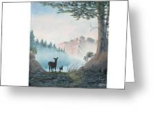 Deer In The Mist Greeting Card