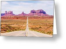 descending into Monument Valley at Utah  Arizona border  Greeting Card