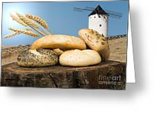 Different Breads And Windmill In The Background Greeting Card
