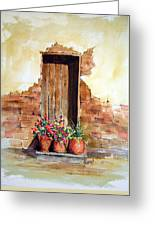 Door With Pots Greeting Card