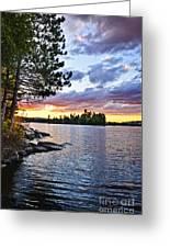 Dramatic Sunset At Lake Greeting Card