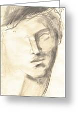 Drawing Of Ancient Sculpture Greeting Card