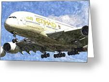 Etihad Airlines Airbus A380 Art Greeting Card