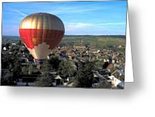 Hot Air Balloon Over Burgundy Greeting Card