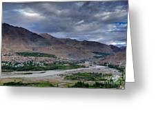Indus River And Kargil City Leh Ladakh Jammu Kashmir India Greeting Card