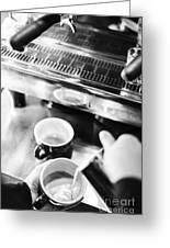 Italian Espresso Expresso Coffee Making Preparation With Machine Greeting Card