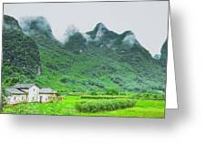 Karst Mountains Rural Scenery Greeting Card