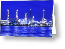 Landscape Of River And Oil Refinery Factory  Greeting Card by Anek Suwannaphoom