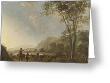 Landscape With Herdsmen And Cattle Greeting Card