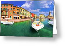 Lazise Colorful Harbor And Boats Panoramic View Greeting Card