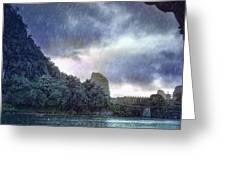 Lijiang River Boat Tour In The Rain-arttopan-china Guilin Scenery Greeting Card
