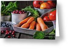 Mix Of Fruits, Vegetables And Berries Greeting Card