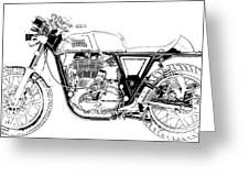Motorcycle Art, Black And White Greeting Card