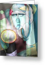 Nun Peering Into Crystal Ball Greeting Card