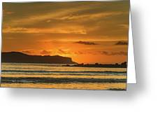 Orange Sunrise Seascape And Silhouettes Greeting Card