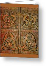 4 Panels Buddhas Wall Carving With Antique Filter Greeting Card