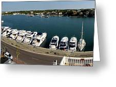 panoramic town 1 - Panorama of Port Mahon Menorca Greeting Card