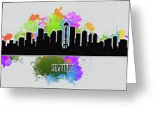 Seattle Skyline Silhouette Greeting Card
