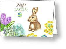 Spring Rabbit And Flowers Greeting Card