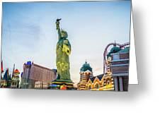 Street Scenes Around Las Vegas Nevada At Dusk Greeting Card
