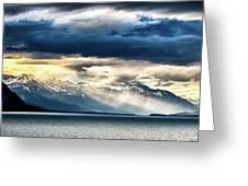 Sunset In Alaskan Fjords In Mud Bay Near Sjagway Greeting Card