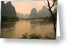 Sunset On The Li River Greeting Card