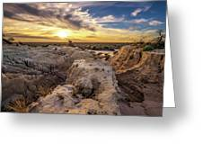 Sunset Over Walls Of China In Mungo National Park, Australia Greeting Card