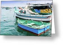 Traditional Boats At Marsaxlokk Harbor In Malta Greeting Card