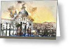 Venice Italy Digital Watercolor On Photograph Greeting Card