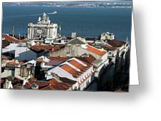View Of Lisbon Harbor And Clock Tower Greeting Card