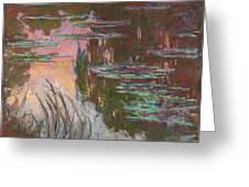 Water Lilies, Setting Sun Greeting Card