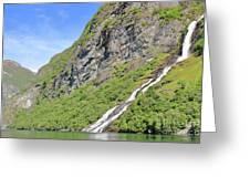 Waterfall In Geiranger Norway Greeting Card