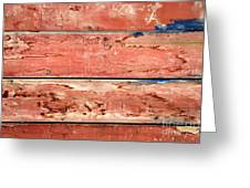 Wood Background With Faded Red Paint Greeting Card