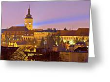 Zagreb Historic Upper Town Night View Greeting Card