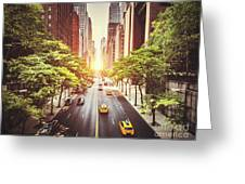 42nd Street In New York During The Day  Greeting Card