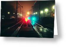 47015 Miscellaneous Rail Track Rail Track And Lights Greeting Card