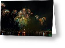 4th Of July Fireworks From The Barge Portland Oregon Greeting Card