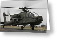 Ah-64 Apache Helicopter On The Runway Greeting Card