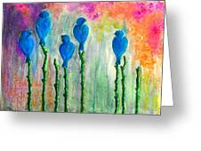5 Bluebirds Of Happiness Greeting Card