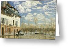Boat In The Flood At Port Marly Greeting Card