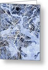 Boston Massachusetts Street Map Greeting Card