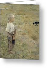 Boy With A Crow Greeting Card