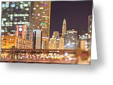 Chicago Illinois Tilt Effect Cityscape At Night Greeting Card