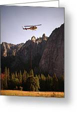 Climber Rescue Operation In Yosemite Greeting Card