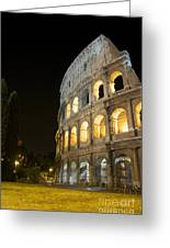 Coliseum Illuminated At Night. Rome Greeting Card